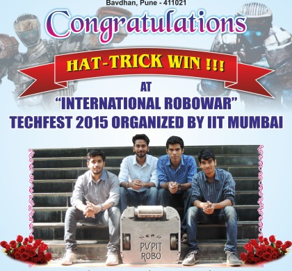 Winner at International Robowars Techfest 2015 Organized By IIT Mumbai