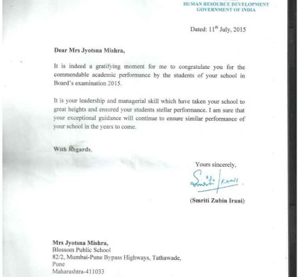 HRD MINSTRY government of India Rewarded Blossom Public School
